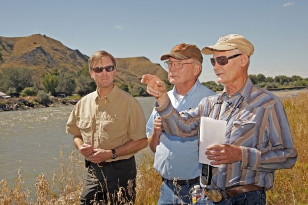 Bill Cole, Mike Penfold and Ralph Saunders visit the spot where William Clark's men probably crossed the Yellowstone River near Billings in 1806 while herding 26 horses. This August 2014 photo was make shortly after this trio helped get the location officially named Clarks Crossing.